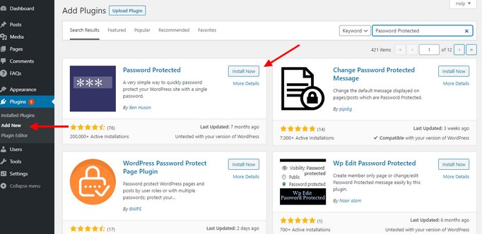 Install Password Protected Plugin