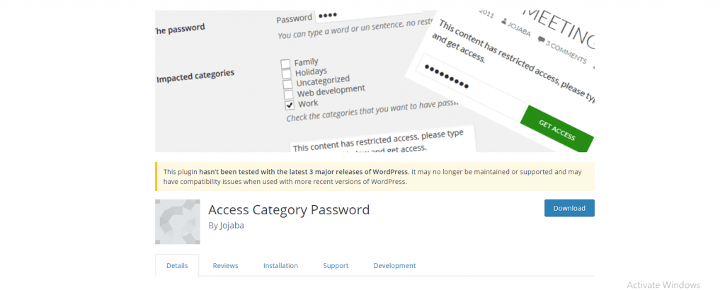 Password for Access Category