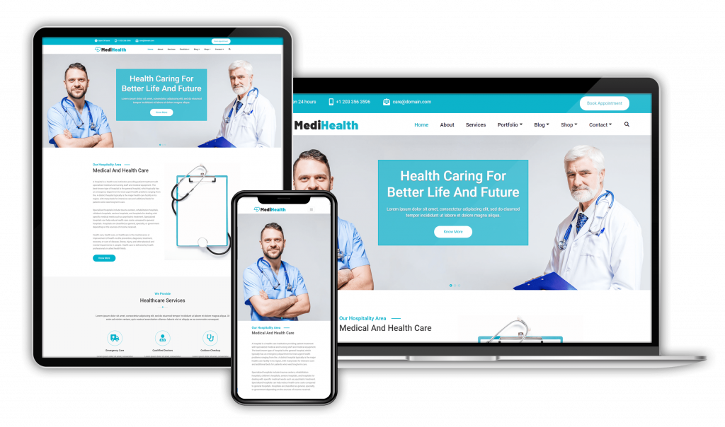 Medihealth WordPress Theme for doctors, hospitals, clinics, health centers